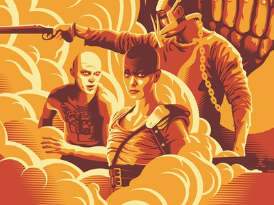 Fire & Blood mad max screen print poster movie posters illustration design