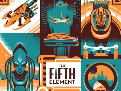 Multipass the fifth element screen print poster movie posters illustration design
