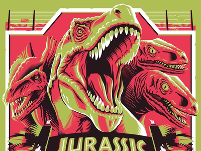 hold on to your butts raptor t rex dinosaurs jurassic park screen print poster movie posters illustration design