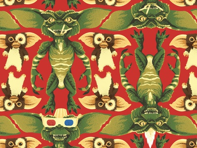 gremlins giftwrap gremlins christmas wrapping paper pattern movies illustration design