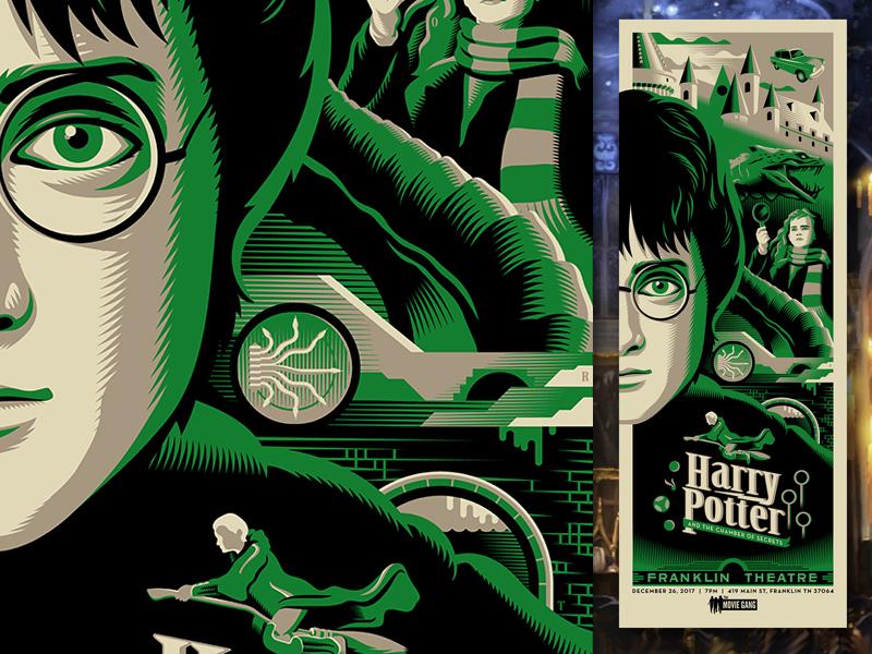 chamber of secrets harry potter movie posters illustration design