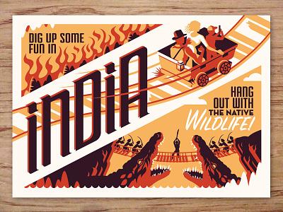 india postcard indiana jones travel postcards movie posters illustration design