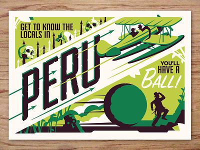 peru postcard indiana jones travel postcards movie posters illustration design