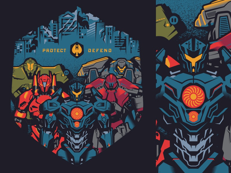 protect/defend merch pacific rim shirts movies illustration design
