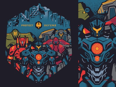protect/defend merch pacific rim shirts movies illustration design