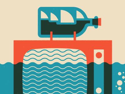 tv waves gig poster illustration design screen print