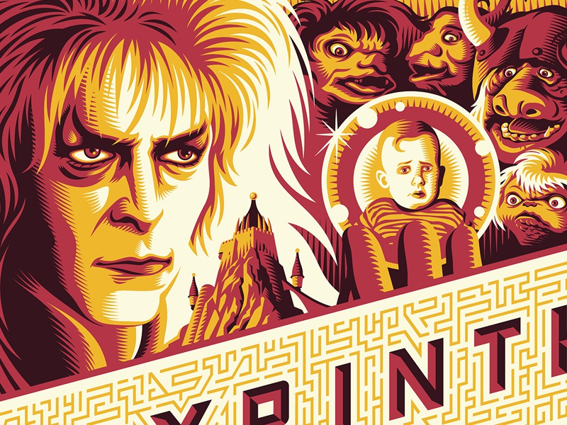 Labyrinth screen printing labyrinth bowie movies movie posters illustration design