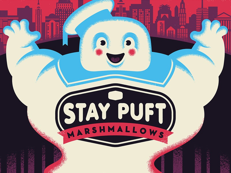 stay puft stay puft movies screen printing movie posters ghostbusters illustration design