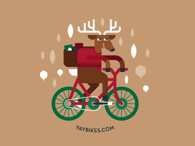 Reindeer Games bike illustration reindeer december