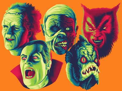 squad goals monster squad portraits mummy gillman frankenstein wolfman dracula movie monsters apparel illustration design
