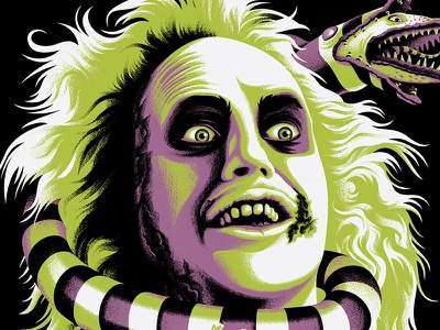 ghost with the most sandworm screen printing tim burton beetlejuice movie posters posters illustration design