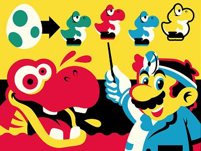 Dr. Mario teaches us about Dinosaurs! screen print poster yoshi mario nintendo illustration design