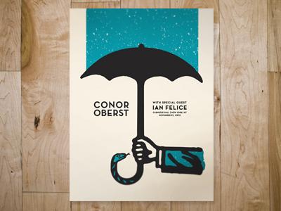 conor oberst at carnegie hall gig poster design illustration poster