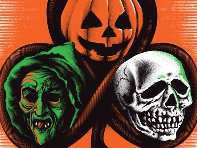H3 poster screenprinting skull witch pumpkin halloween 3 halloween movie poster illustration design
