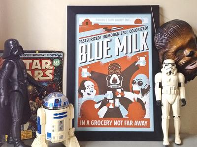 Blue milk print
