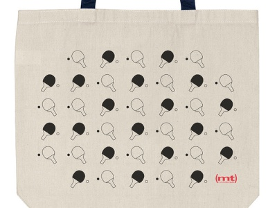 Ping Pong Tote Bag products ping pong tote bag flat pattern clean simple illustration