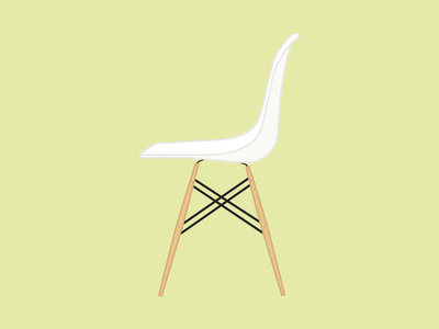 Chair Illustration design illustration eames white brown plastic flat icon