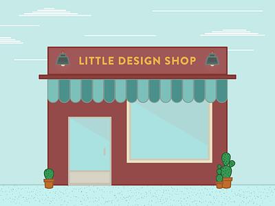 Little Design Shop turquoise red brick wireframe illustration flat design design shop storefront