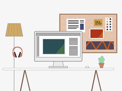 Get Work Done desk work station design designer creative creatives flat illustration