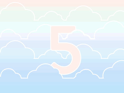 Five in the Clouds 5 clouds pattern gradient sky illustration numbers typography brandon pastel