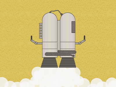 Jetpack Boosterpack monochromatic monochrome yellow illo illustration flat space rocket boosterpack jetpack