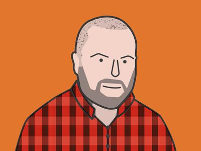 Hipster Portrait/Avatar plaid orange red color guy beard portrait illustration flat lumberjack hipster