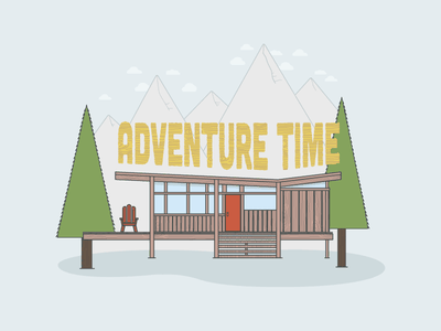 Adventure Time Cabin nature muted color typography adventure time landscape adventure cabin flat illustration flat