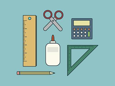 Back To School grammar elementary protractor glue color illustration back to school supplies school