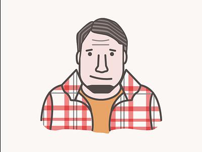 Programmer/Developer coding portrait flat male plaid avatar icon developer programmer