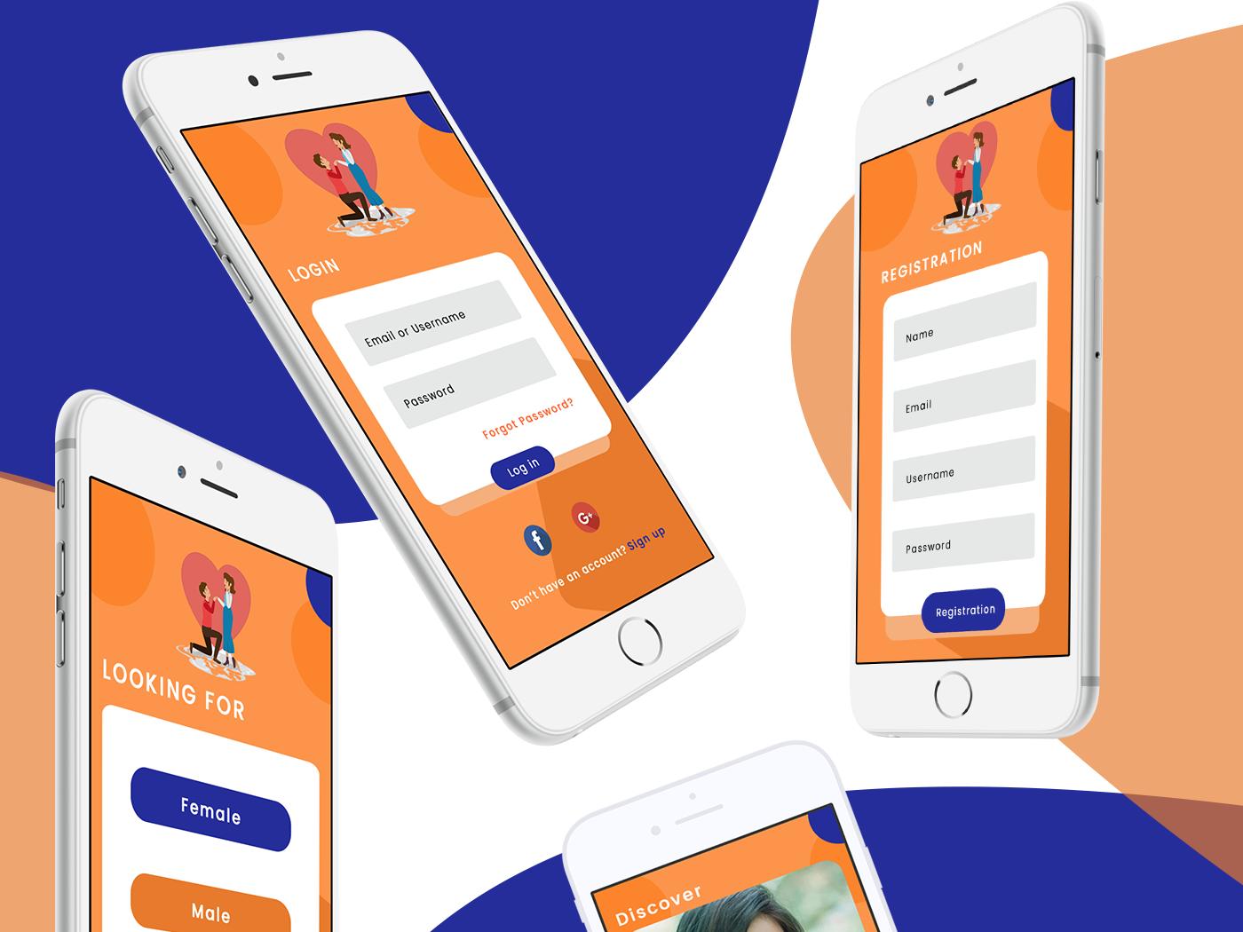 Dating app social match signup login tinder ux ui design illustration
