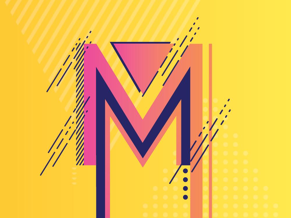 Monogram Letter M type design letter lines vector gradient design illustration icon logo creative monogram