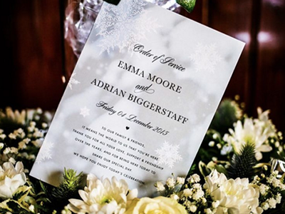 Winter Wedding Program order of service snowflake winter wedding stationery weddings