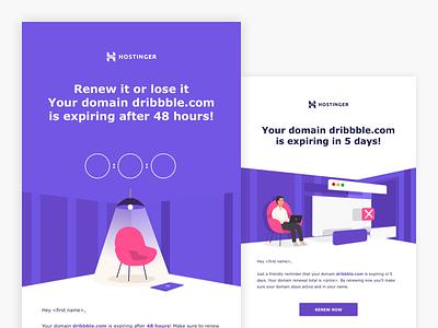 Hostinger Domain Renewal Emails transactional newsletter identity illustrator template email design minimal flat branding ux email clean vector ui design illustration