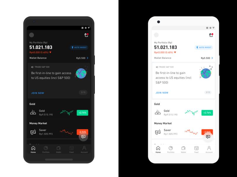 Pluang Dark Mode trading wallet app robinhood n26 monzo revolut wallet invest investing financial pluang fintech darkmode dark ui dark