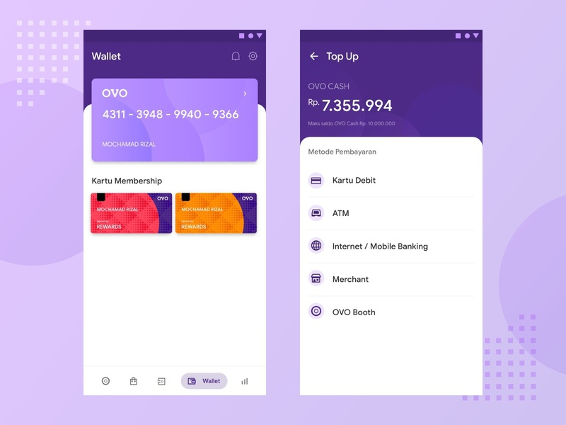 OVO Wallet Redesign Concept vector flat mobile ios ovo ux ui illustration icon app fintech finance app finance clean app icon minimal design app design branding android