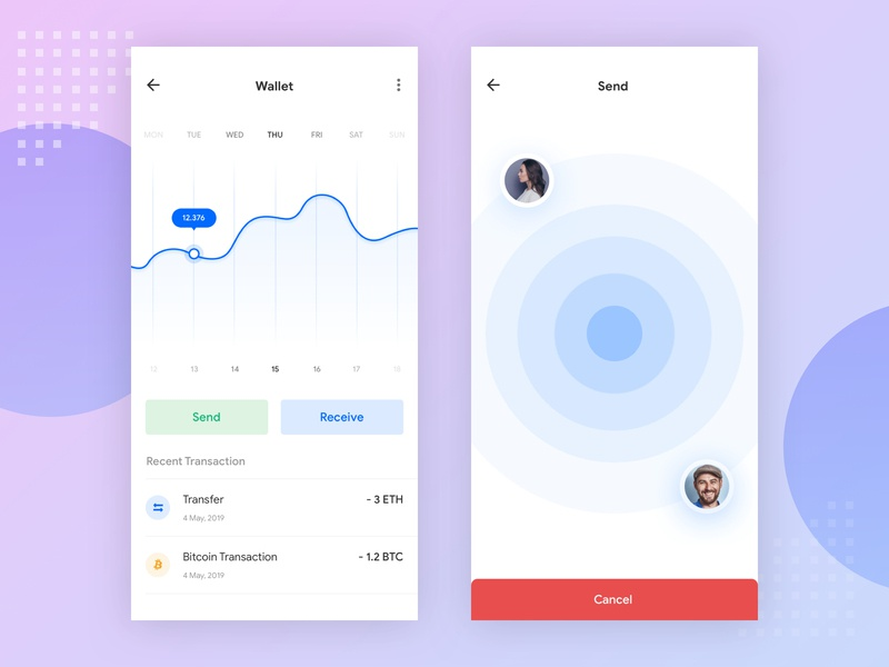 Transfer Page Cryptocurrencies send receive wallet animation ux  ui ui finance app branding cryptocurrency bitcoin fintech icon finance design app clean app design