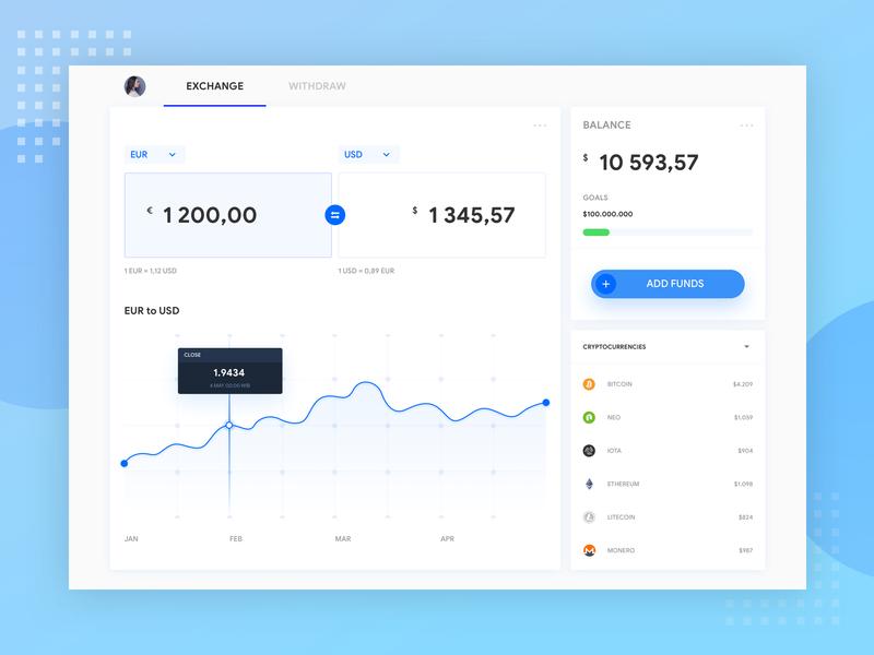 Exchange Dashboard ui finance app fintech web  design funds withdraw dashboard exchange branding finance design app clean app design
