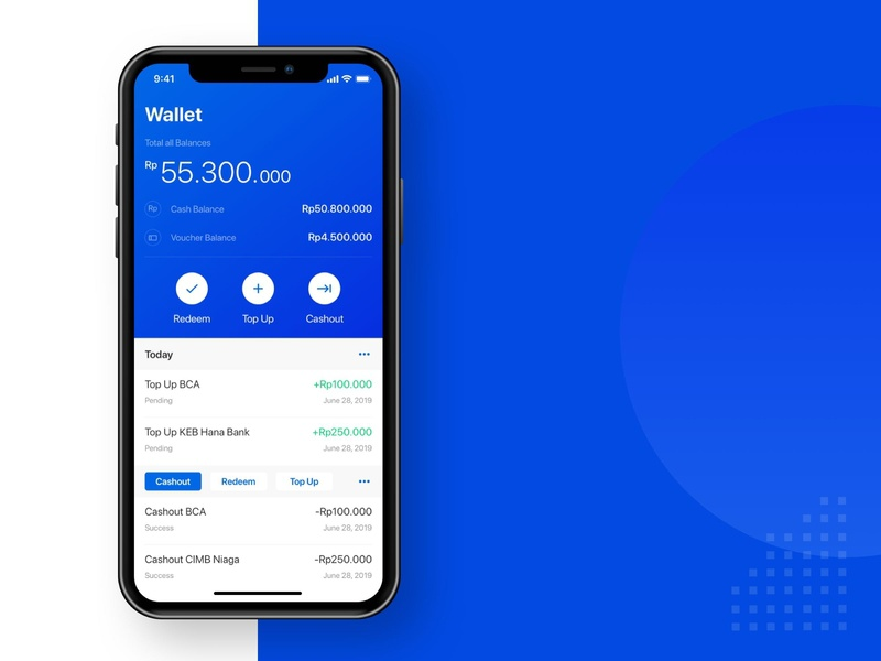 Wallet App ovo cimb bca bcard cryptocurrency illustration branding ux ui minimal clean app fintech finance app finance design design app wallet app wallet