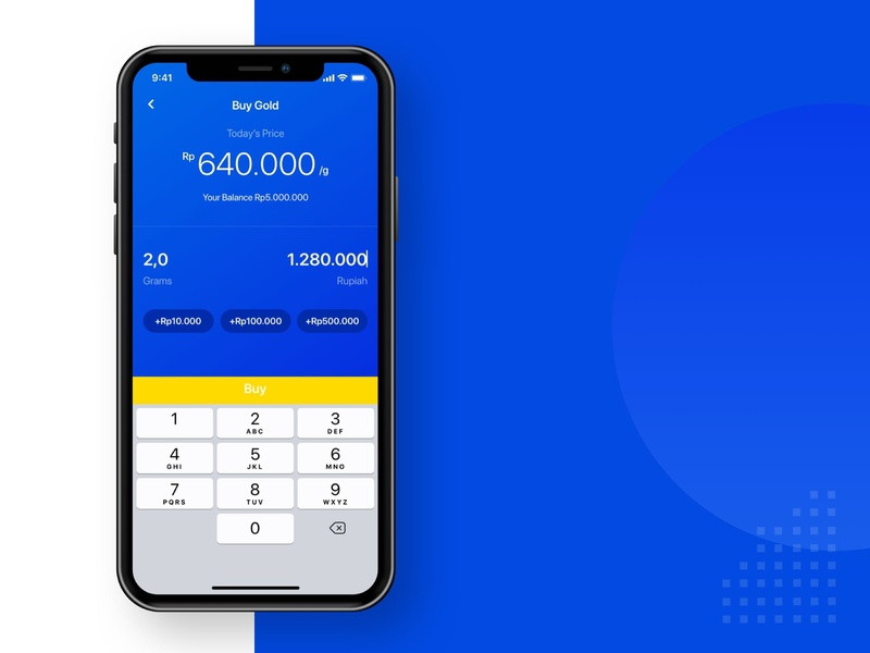 Buy Gold App blue pluang ux ui android minimal icon illustration branding app fintech finance app finance design app clean design business gold app gold buy