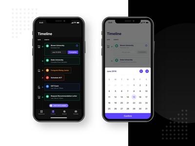 Timeline App purple iphone scheduler ovo simple sketch branding app fintech finance app finance design app clean design timeline cover date time calendar schedule timeline