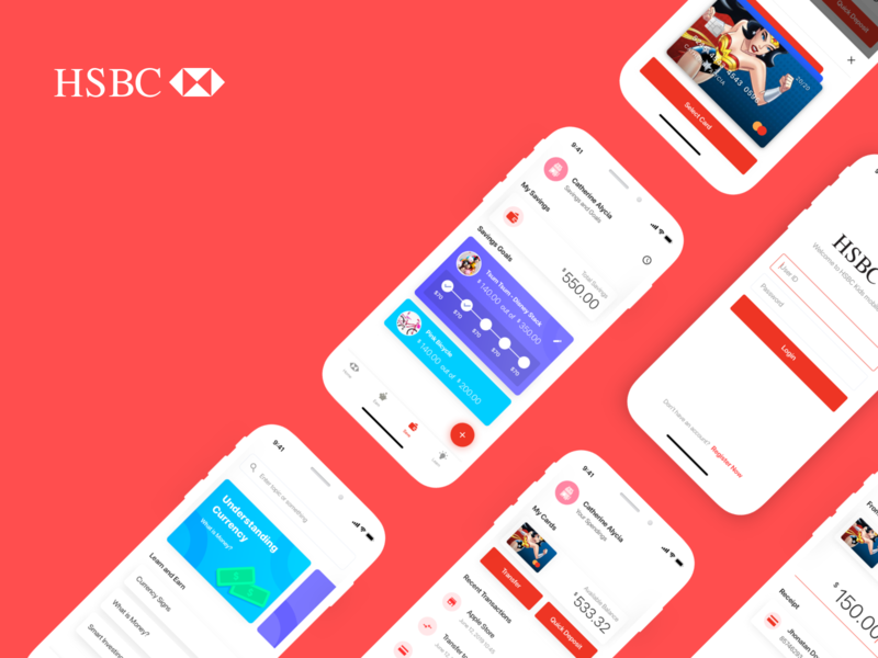 HSBC Kids Banking Concept red app kids app bank app icon illustration branding app finance app finance design app clean design fintech bank kids kids bank banking ui hsbc