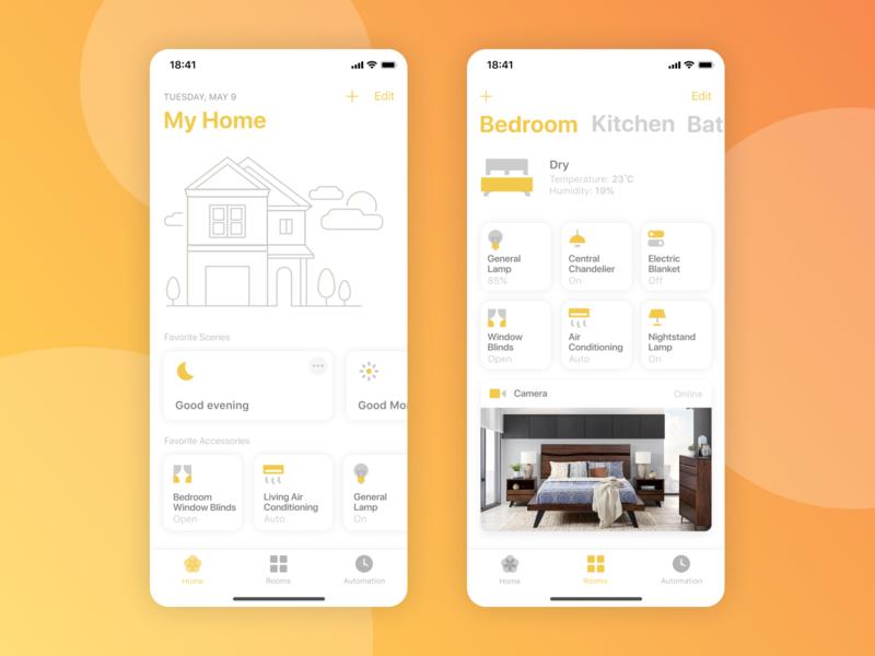 Smart Home App clean app home smart apple yellow design app clean color ios uxd ui app design smart home
