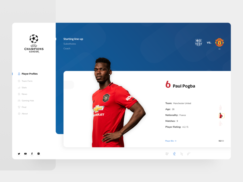 UEFA Champions League Match-day App Concept soccer football pogba design ux fc barcelona manchester united ucl uefa web ui