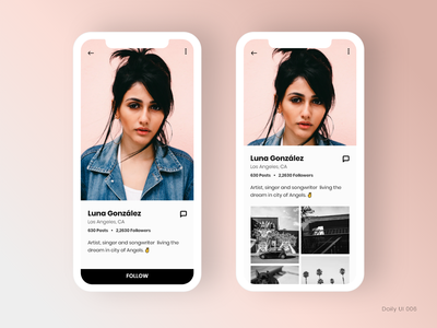 Daily UI 006 - User Profile pink ui photo grid profile user profile daily ui 006 app adobe xd daily ui