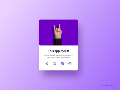 App share social share button share minimalistic simple purple daily ui 010 010 social share illustration ui design dailyui daily ui