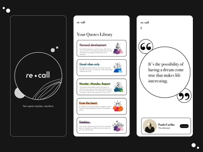 re.call - quotes library reading app reading quote minimalist collection library quotes motivation minimal app design design clean ui app