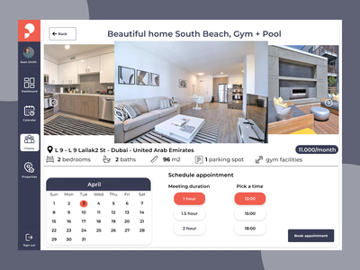 Real estate - view property features & schedule real estate ui  ux ui
