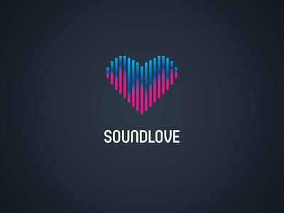 Soundlove Logotype gradient heart wave love sound concept logo