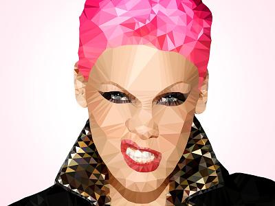 Pink Polygon Art polygon design graphic art illustration