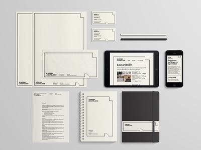 Stationary brand system logo system scandinavian rental black and white branidentity brand design graphic design minimal border logo branding stationary